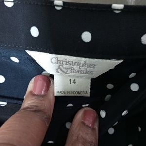 Christopher & Banks Skirts - 🌴Christopher & Banks Size 14 Blue Polka Dot Skirt